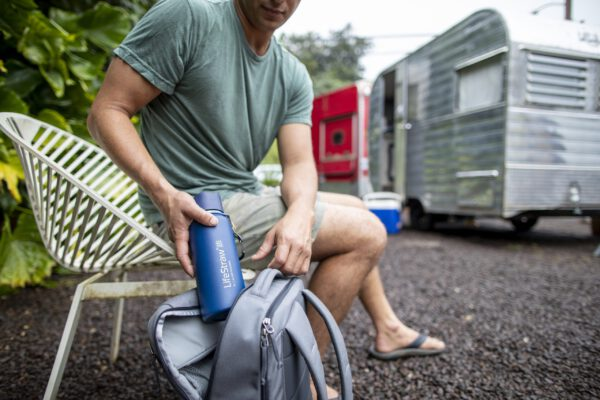 LifeStraw Go- stainless - steel - blue - lifestyle backpack- kauai - adam barker - 2025